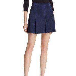 Alice + Olivia Suede Lee Pleated Mini Skirt